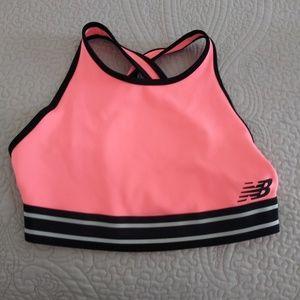 New Balance Crop Top Sports Bra Pink Black
